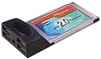 Placa PCMCIA type II con 4 x USB 2.0 p/ notebooks
